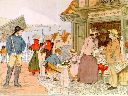Francis Donkin Bedford. At the Fishmarket (c.1900). Illustration from E.V. Lucas, Book of Shops.