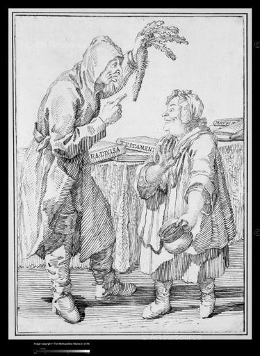 Pier Ghezzi. Monk with Carrot & Woman with Chamber Pot (18th C.). ©Metropolitan Museum of Art