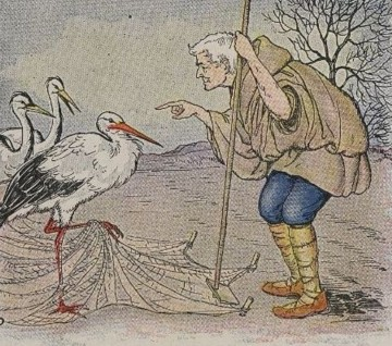 Walter Crane. The Farmer & The Stork. Illustration in The Baby's Own Aesop (1877).