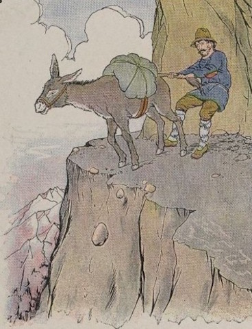 Milo Winter. The Ass & His Driver. Illustration for The Aesop for Children (1919).