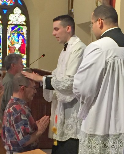 Fr. Sean Connolly bestowing his first blessing to the Latin Mass congregation in Sleepy Hollow, NY.