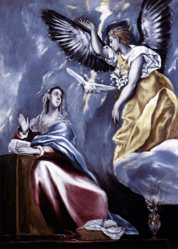 El Greco. The Annunciation (c. 1595-1600). El Greco painted several versions of the theme. This replica belongs to the Toledo Museum of Art, Ohio. Made by El Greco, it is his own copy of the painting that hangs in the Museum of Fine Art, Budapest.