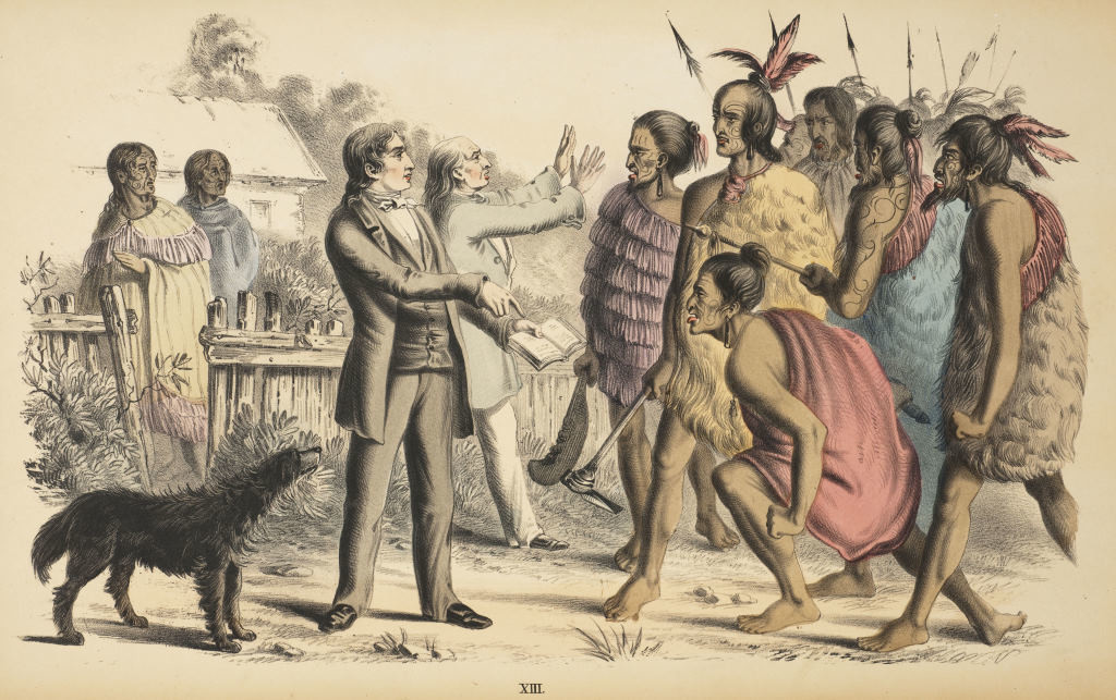 Artist Unknown. The Power of God's Word (1856). Colored lithograph for the two-volume Missionary Series: An Offering for Youth, published in New Zealand, 1856.