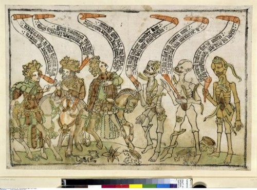 Three Living and Three Dead (15th C.), woodcut. Staatliche Museen, Berlin.