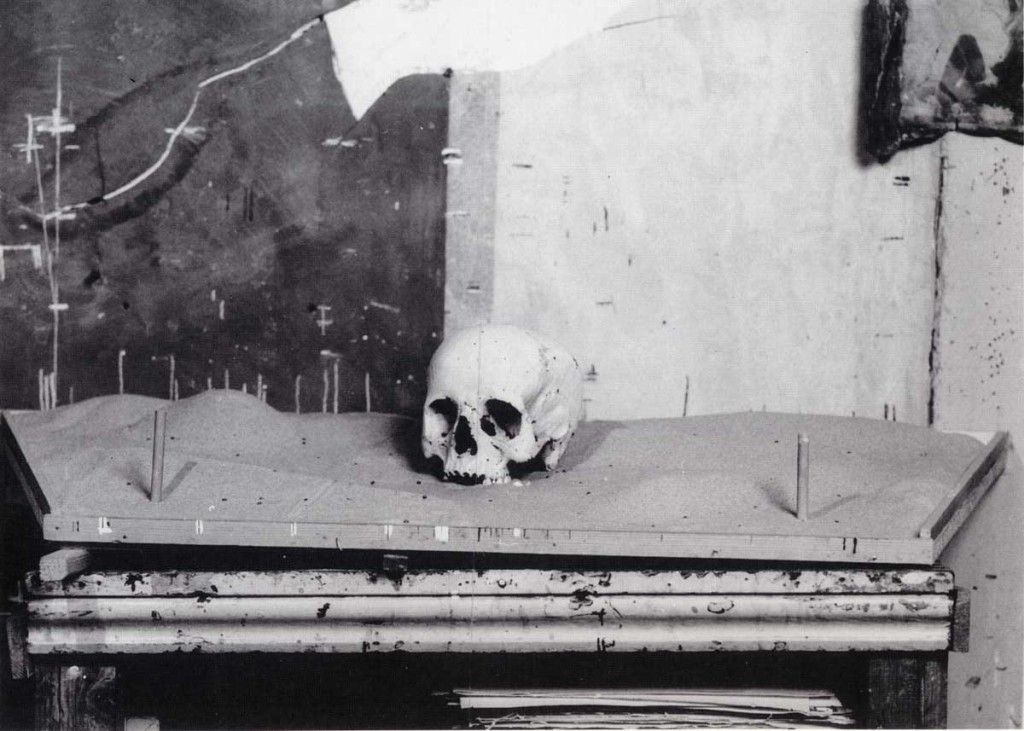 Uglow's studio set up for Skull, complete with markers and aids for measurement.