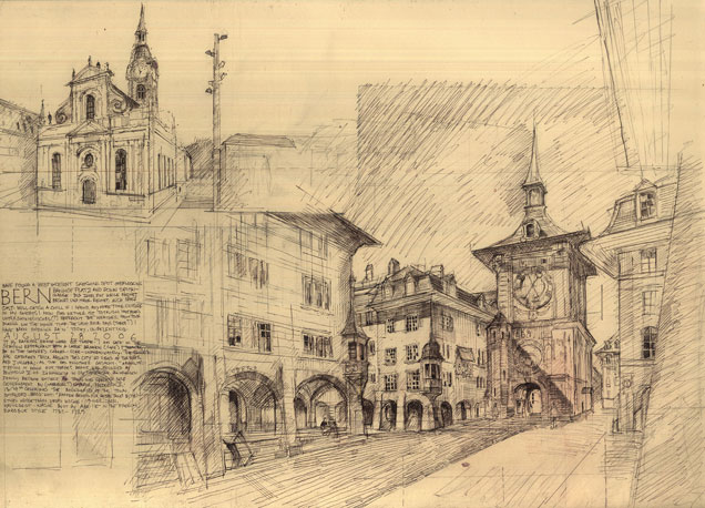 Benedict O'Looney. Free-hand drawing of the main street in Bern, Switzerland (2006)