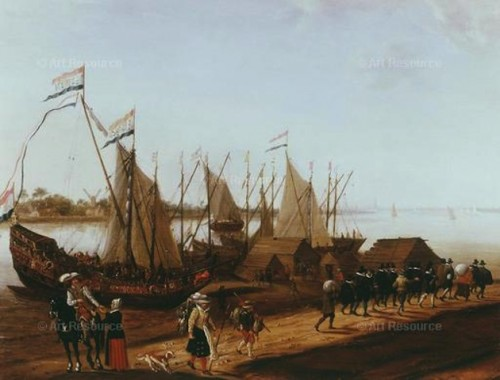 Adam Van Breen. Departure of the Puritans from Delft Harbor to Join the Mayflower in 1620 (17th C.). Image provided by H. Terry-Engell Gallery, London.
