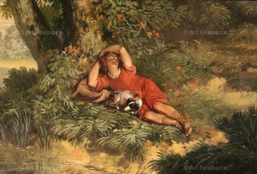 Jurriaen Andriessen. Sleeping Boy and Dog (late 18th C.) Detail of mural at Huis te Manpad, Holland.