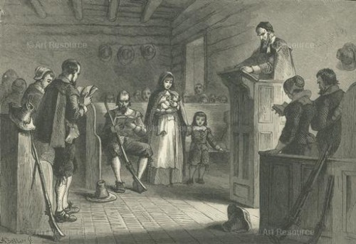 Puritans attending service in Plymouth, Massachusetts (17th C.)