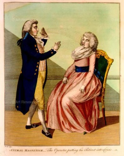"Anonymous. Franz Mesmer's ""assistant magnetizer"" practices Animal Magetism—or Mesmerism—on a patient. From Ebenezer Sibley's A Key to Physic and the Occult Sciences. London (c. 1798)"