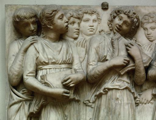 Lucca della Robbia. Children Singing and Playing Instruments (15th C.). Relief for the Cantoria. Museo dell 'Opera del Duomo. Florence.