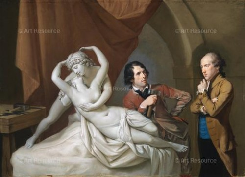 "Hugh Hamilton. Canova in his studio with Henry Tresham viewing a plaster model for Canova's ""Cupid and Psyche"" (1788-89)"