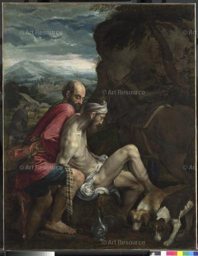 Jacopo Bassano. The Good Samaritan (c. 1550-70).National Gallery, London