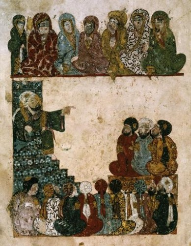 Yahya ben Mahmoud al-Wasiti. Teaching in a Madrasa before men and veiled women. Manuscript from Baghdad (1237). Bibliotheque National, Paris