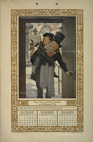 Jessie Wilcox Smith. Children of Dickens. A Calendar for 1912 illustrating Tiny Tim and Bob Cratchit on Christmas Day.