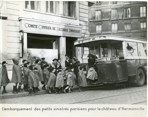 The evacuation of these young bombed out evacuees was sponsored by the Comit Ouvrier de Secours Immeddiat, financed largely by the confiscation of Jewish-owned goods.