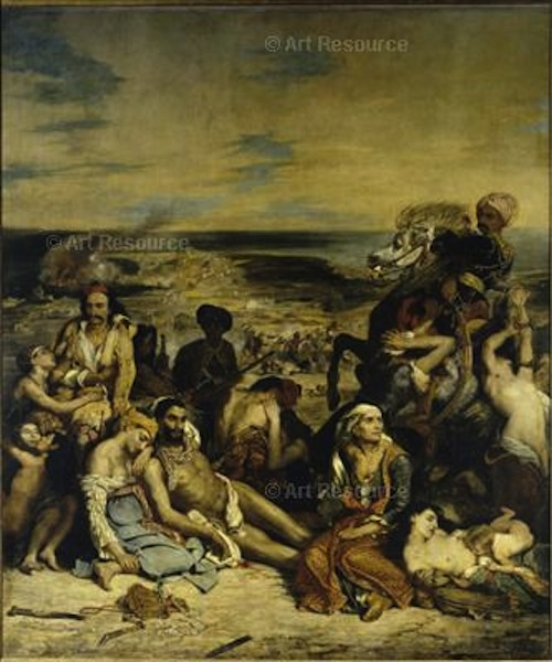 Delacroix. Massacre at Chios: Greek families awaiting death or slavery at the hands of the Ottoman Turks in 1822.