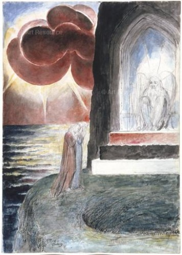 William Blake. Dante and Virgil Approaching the Angel Who Guards the Entrance to Purgatory (1824-27). Illustration for Dante's Divine Comedy. Louvre, Paris