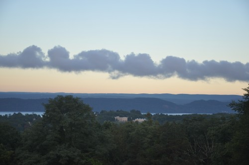Mike Walsh, MM. The Hudson Dragon (2013). Looking west across the Hudson at serpentine clouds that spread like a Chinese dragon over the highlands.