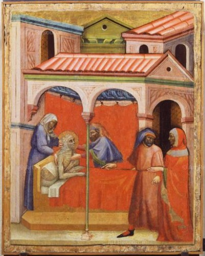 Artist Unknown. Visiting the Sick, from a series of works of mercy. Florentine School (14th C.). Vatican Museums, Vatican City