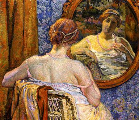Theo van Rysselburghe. Woman at a Mirror (1907). Private Collection.