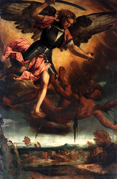 Paolo Veronese. St. Michael Vanquishing the Devil (c.1530). Basilica of Sts. John and Paul, Rome.