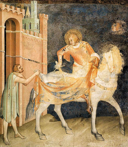Simone Martini. St. Martin Shares his Cloak with the Beggar (c. 1317-20). Montefiore Chapel, Lower Church of San Francesco, Assisi.