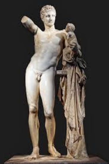 Praxiteles. Hermes Holding Infant Dionysus (c. 330 BC). Archeological Museum, Olympia, Greece.