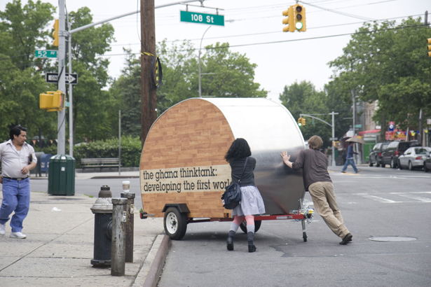 Ghana Think Tank, a portable work station rolling through Queens, NY. Presented by Creative Time and the Queens Museum of Art.