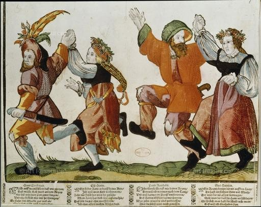 Anonymous woodcut. Dancing Peasants (16th C.). Staatsbibliotek, Berlin