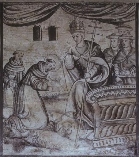 Anonymous. Pope Innocent III Approving Rules of the Franciscan Order (16th C.). Monastery, Cholula, Mexico.