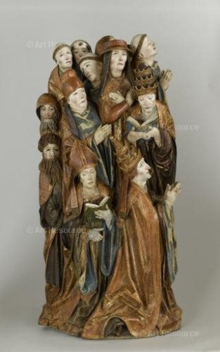 Daniel Mauch. Two Popes, a Bishop, a Canon, and 7 Monks in Prayer (c.1505). Louvre, Paris.