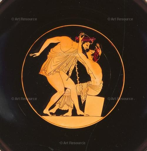Painting on wine cup of two pentathletes (550 - 500 BC). J. Paul Getty Museum, Los Angeles.