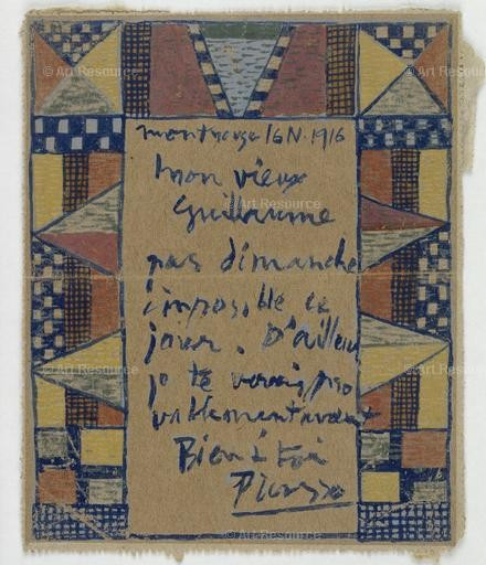Pablo Picasso. Card for Guillame Apollinaire, 1916. Musee Picasso, Paris.