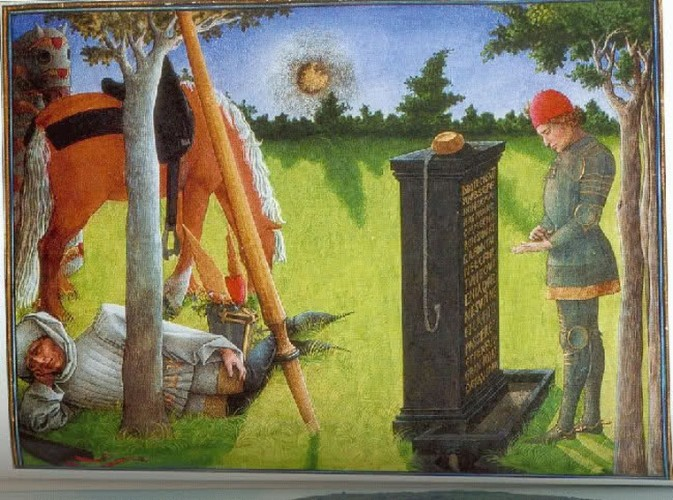 Tomb in Arcadia. Illustration for manuscript by René d'Anjou (1457).