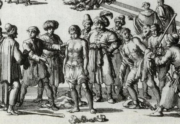 Moroccan Slave Market. Anonymous woodcut (17th C.).