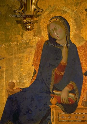 Simone Martini. The Annunciation (detail), 14th C., The Uffizi, Florence.