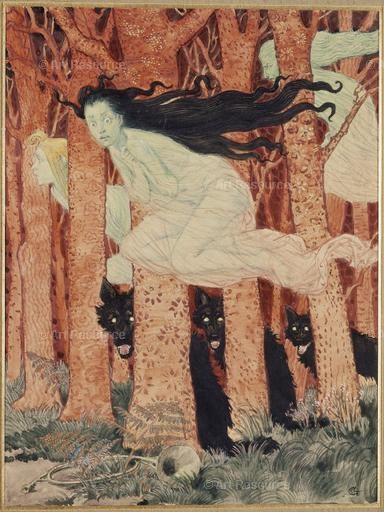 Eugene Grasset. Three Women & Three Wolves (c.1900). Musée des Arts Decoratifs, Paris.