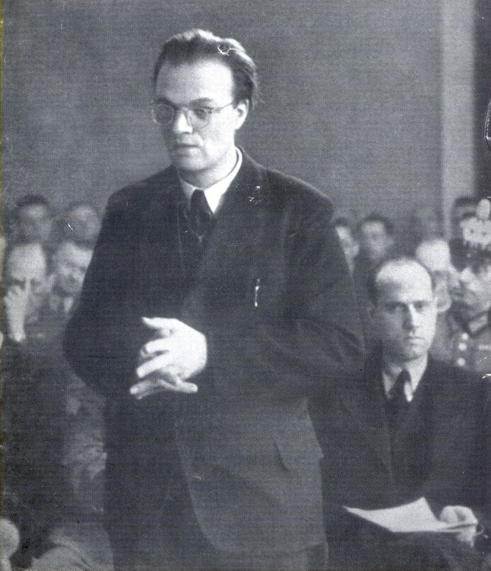Fr. Delp, on trial at Gestapo headquarters.