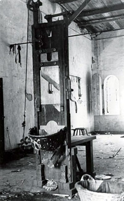 The guillotine was a fixture in Reich prisons. This, in Plötzensee, was identical to Brandenburg's.