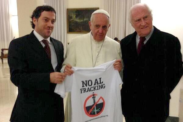 Pope with anti-fracking Tshirt