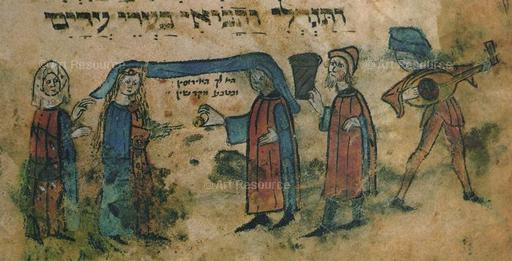 Marriage. Illustration from the Maciejowski Bible (13th C). Pierpont Morgan Library, New York City.