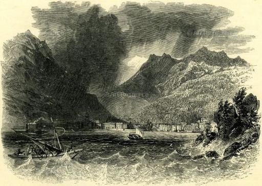 Anonymous etching. Storm on Lake Como, Italy (19th C.). Photo: Album/Art Resource NY