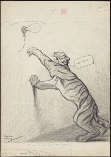 "Rollin Kirby. ""Trying to Turn Out the Light"" (early 1930s). The Tammany Tiger."