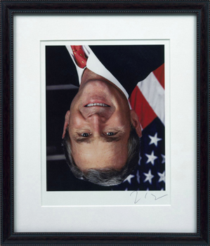 Jonathan Horowitz, Official Portrait of George W. Bush Available for Free From the White House Hung Upside Down (2001); Courtesy Gavin Brown's Enterprise, New York