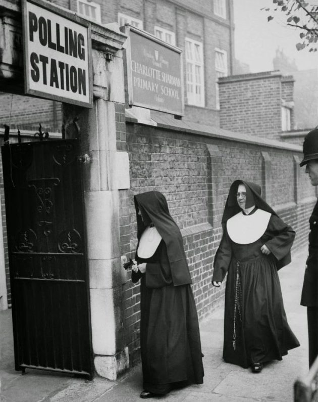 Nuns at polling station