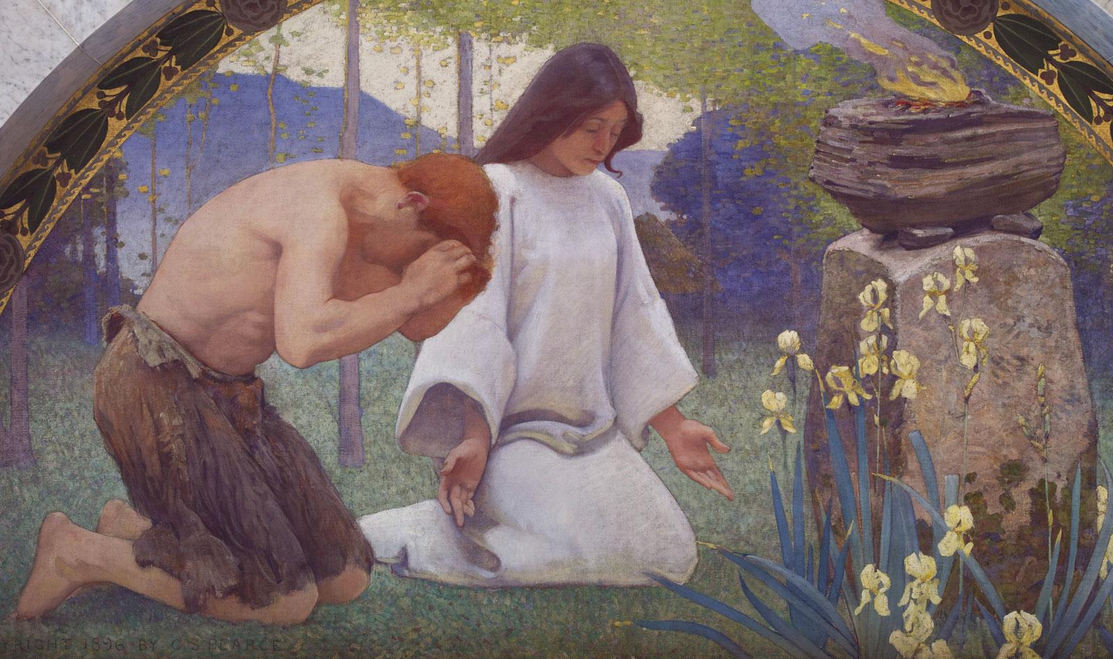 Man and woman worshipping nature.