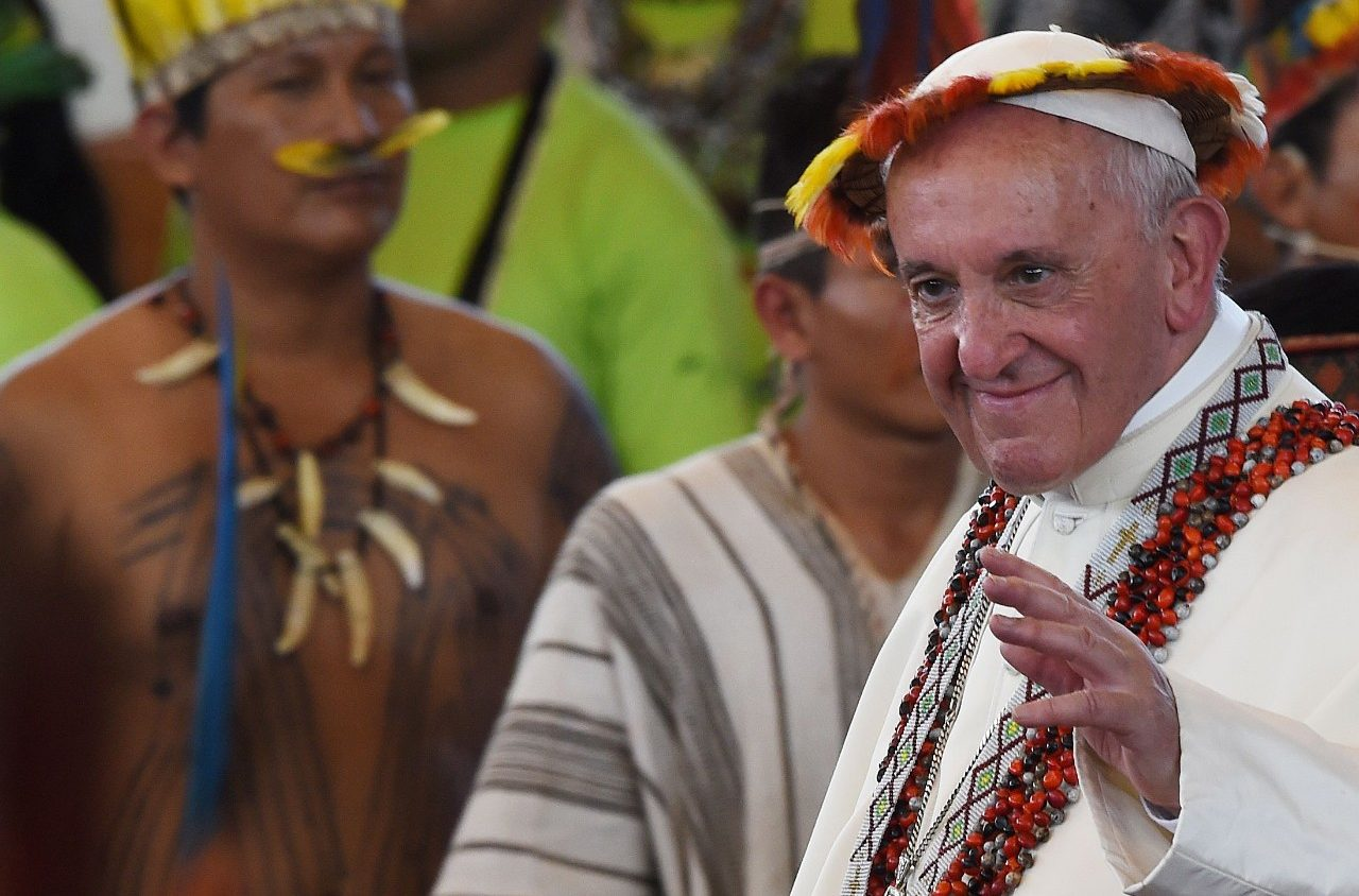 Pope Francis in a tribal headress