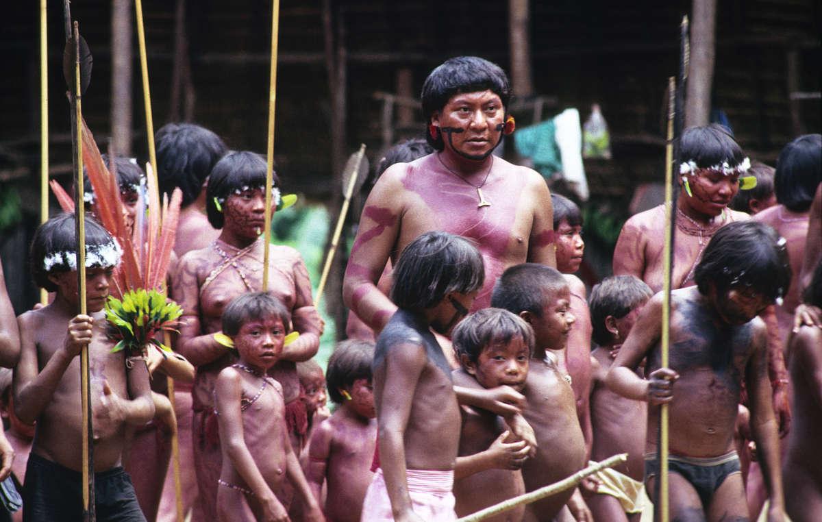 Amazon shaman with children