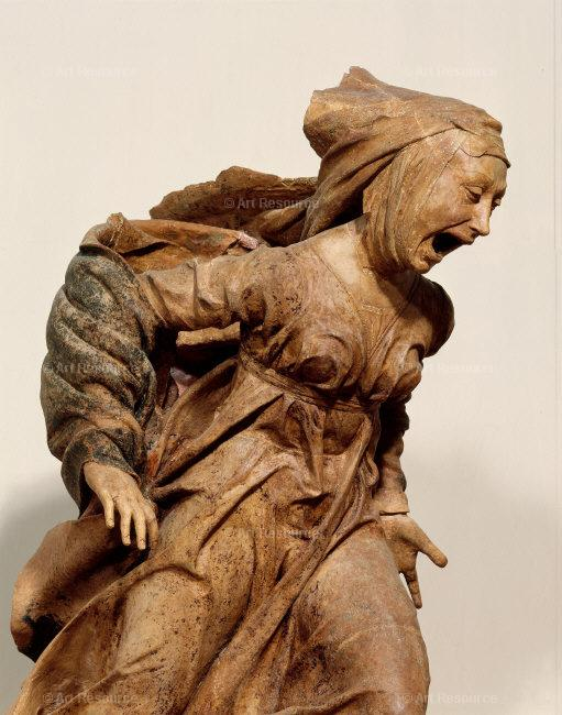 Statue of Mary distraught.
